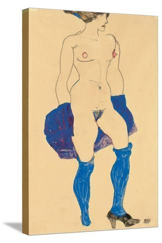 Standing Woman with Shoes and Stockings, 1913-Egon Schiele-Stretched Canvas Print