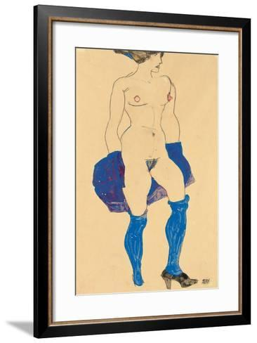 Standing Woman with Shoes and Stockings, 1913-Egon Schiele-Framed Art Print