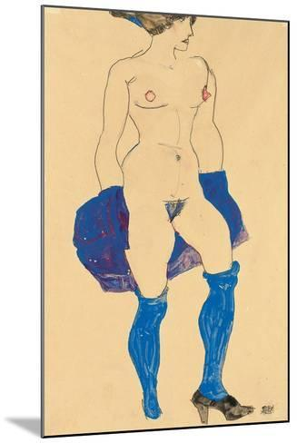 Standing Woman with Shoes and Stockings, 1913-Egon Schiele-Mounted Giclee Print