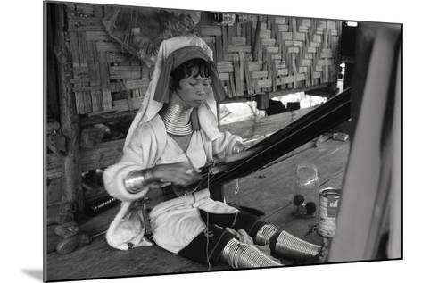 A Padaung Woman Weaving--Mounted Photographic Print