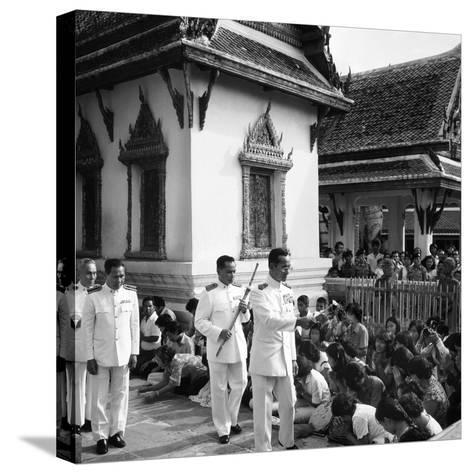 His Majesty King Bhumibol Adulyadej Blessing the Crowd at the Emerald Temple Temple, 1978--Stretched Canvas Print