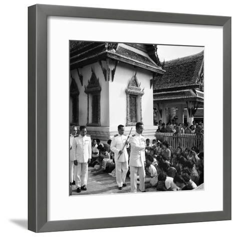 His Majesty King Bhumibol Adulyadej Blessing the Crowd at the Emerald Temple Temple, 1978--Framed Art Print