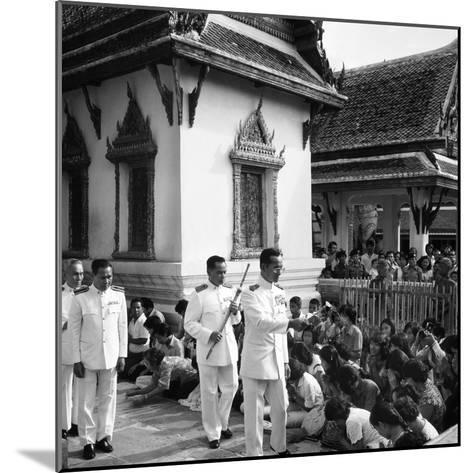 His Majesty King Bhumibol Adulyadej Blessing the Crowd at the Emerald Temple Temple, 1978--Mounted Photographic Print