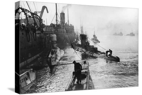 Submarines Leaving the Ship Depot at Harwich-Thomas E. & Horace Grant-Stretched Canvas Print