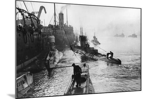 Submarines Leaving the Ship Depot at Harwich-Thomas E. & Horace Grant-Mounted Photographic Print