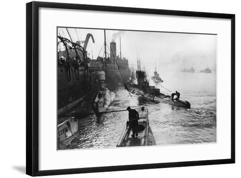 Submarines Leaving the Ship Depot at Harwich-Thomas E. & Horace Grant-Framed Art Print