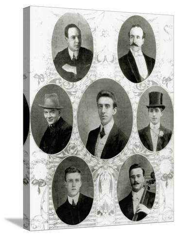 Seven of the Eight Members of the Ship's Band on the Titanic, 1912--Stretched Canvas Print