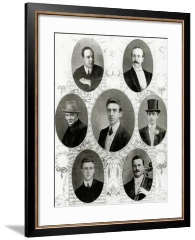 Seven of the Eight Members of the Ship's Band on the Titanic, 1912--Framed Art Print