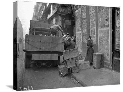 Military Lorries Collecting Rubbish, Paris, 1917-Jacques Moreau-Stretched Canvas Print