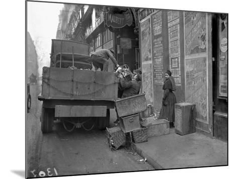 Military Lorries Collecting Rubbish, Paris, 1917-Jacques Moreau-Mounted Photographic Print