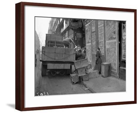 Military Lorries Collecting Rubbish, Paris, 1917-Jacques Moreau-Framed Art Print