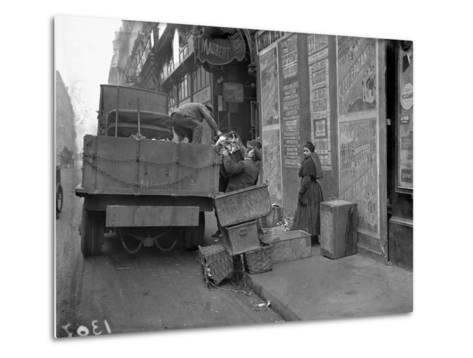 Military Lorries Collecting Rubbish, Paris, 1917-Jacques Moreau-Metal Print