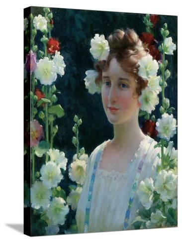 Among the Hollyhocks, 1904-Charles Courtney Curran-Stretched Canvas Print