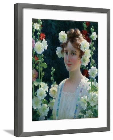Among the Hollyhocks, 1904-Charles Courtney Curran-Framed Art Print