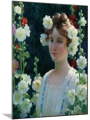 Among the Hollyhocks, 1904-Charles Courtney Curran-Mounted Giclee Print