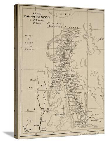 Map of Laos and the Mekong River Showing the Route of the Voyage of Henri Mouhot, Illustration…-French School-Stretched Canvas Print