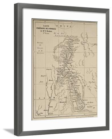 Map of Laos and the Mekong River Showing the Route of the Voyage of Henri Mouhot, Illustration…-French School-Framed Art Print