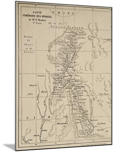 Map of Laos and the Mekong River Showing the Route of the Voyage of Henri Mouhot, Illustration…-French School-Mounted Giclee Print