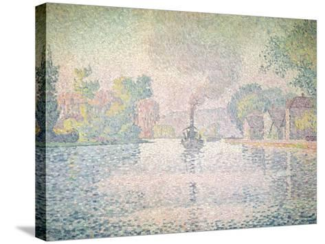 """The Seine at Sannois, the Tugboat """"L'Hirondelle"""", 1901-Paul Signac-Stretched Canvas Print"""
