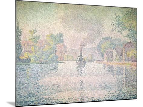 """The Seine at Sannois, the Tugboat """"L'Hirondelle"""", 1901-Paul Signac-Mounted Giclee Print"""