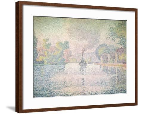 "The Seine at Sannois, the Tugboat ""L'Hirondelle"", 1901-Paul Signac-Framed Art Print"