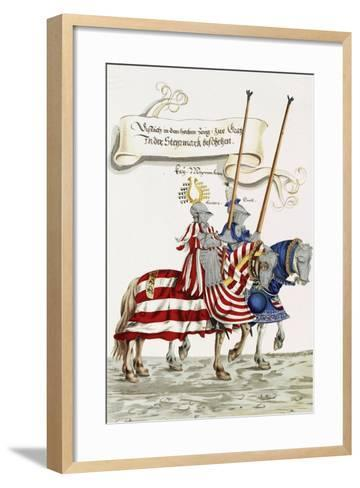 Two Knights in Jousting Armour (Gestech) and Armed with Lances, Illustration from a Facsimile…-Hans Burgkmair-Framed Art Print