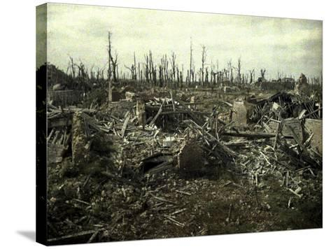 Buildings and Trees Destroyed by Artillery Fire, Chaulnes, Somme, France, 1917-Fernand Cuville-Stretched Canvas Print