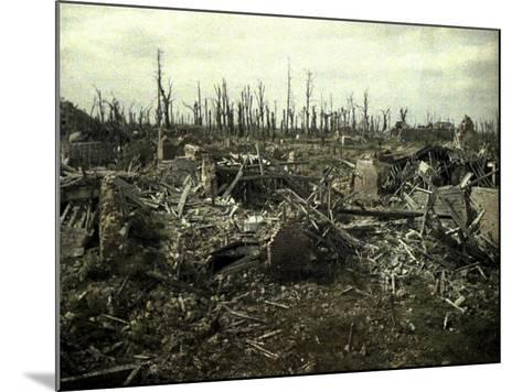 Buildings and Trees Destroyed by Artillery Fire, Chaulnes, Somme, France, 1917-Fernand Cuville-Mounted Giclee Print