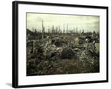 Buildings and Trees Destroyed by Artillery Fire, Chaulnes, Somme, France, 1917-Fernand Cuville-Framed Art Print
