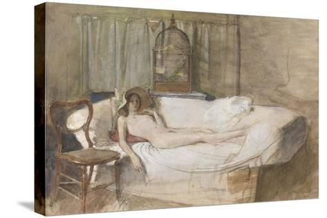 Nude on a Sofa, 1980-John Ward-Stretched Canvas Print