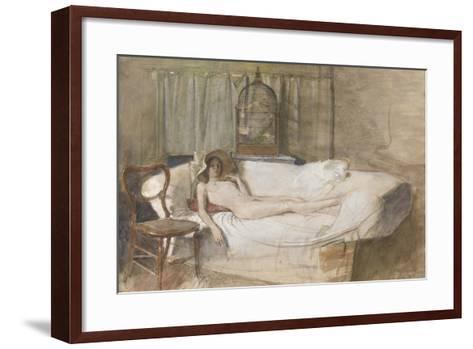 Nude on a Sofa, 1980-John Ward-Framed Art Print