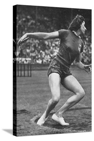 Micheline Ostermeyer on Her Way to Winning the Gold Medal for the Discus Throw at the 1948 London?--Stretched Canvas Print