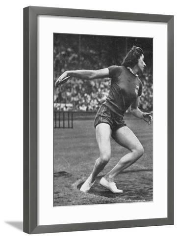 Micheline Ostermeyer on Her Way to Winning the Gold Medal for the Discus Throw at the 1948 London?--Framed Art Print