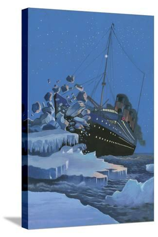 The Titanic Collides with an Iceberg on the 28th Aprl 1912-English School-Stretched Canvas Print