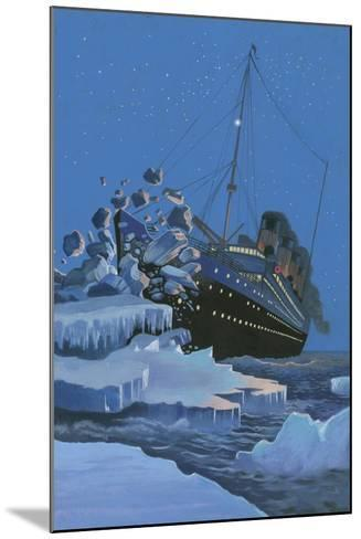 The Titanic Collides with an Iceberg on the 28th Aprl 1912-English School-Mounted Giclee Print