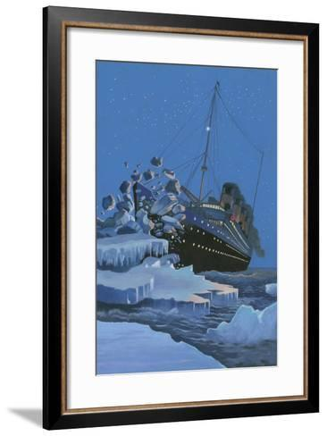 The Titanic Collides with an Iceberg on the 28th Aprl 1912-English School-Framed Art Print