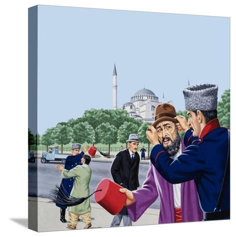 Replacing the Traditional Fez in Turkey-John Keay-Stretched Canvas Print