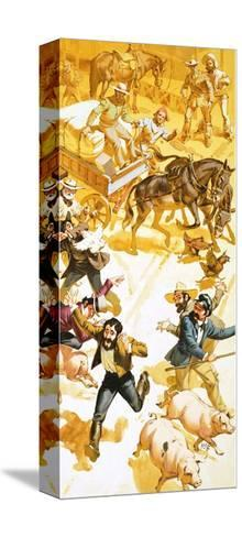 A Man Runs Through the Streets of San Francisco Announcing the Discovery of Gold-Angus Mcbride-Stretched Canvas Print