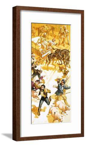 A Man Runs Through the Streets of San Francisco Announcing the Discovery of Gold-Angus Mcbride-Framed Art Print