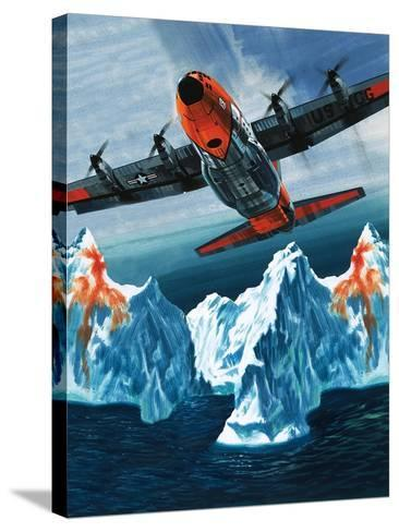 A Lockheed Hercules Patrolling Icebergs for the Coast Guard-Wilf Hardy-Stretched Canvas Print