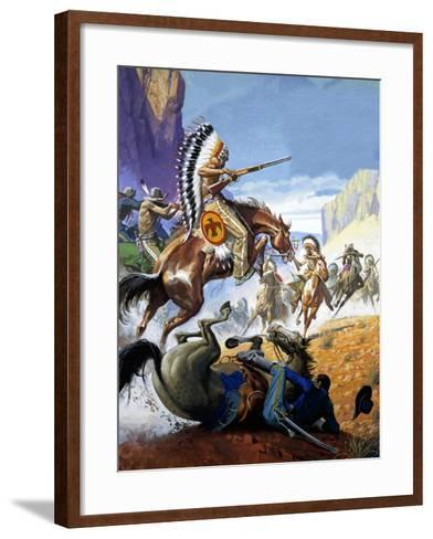 Skirmish Involving Indians and Soldiers-Severino Baraldi-Framed Art Print