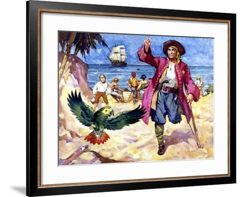 Long John Silver and His Parrot-James Edwin Mcconnell-Framed Art Print