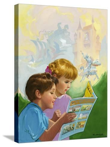 Boy and Girl Reading-Van Der Syde-Stretched Canvas Print