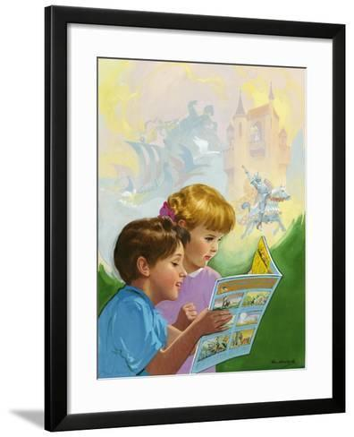 Boy and Girl Reading-Van Der Syde-Framed Art Print