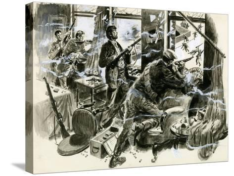 Battle for Mount Street Bridge, Dublin, April 1916-English School-Stretched Canvas Print