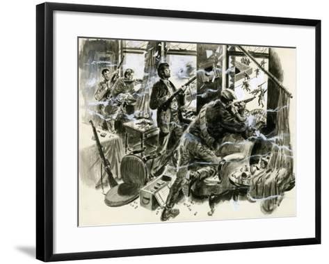 Battle for Mount Street Bridge, Dublin, April 1916-English School-Framed Art Print
