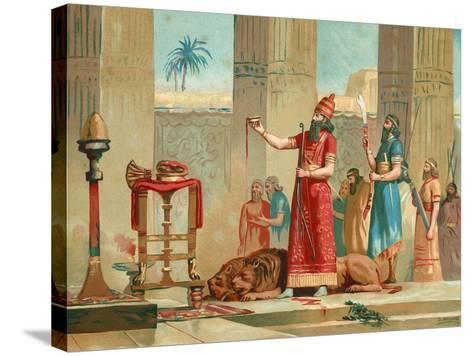 Ashurbanipal Offering Lions in Sacrifice-Dionisio Baixeras-Verdaguer-Stretched Canvas Print