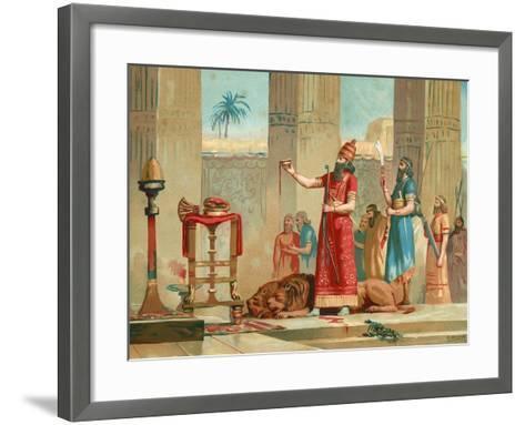 Ashurbanipal Offering Lions in Sacrifice-Dionisio Baixeras-Verdaguer-Framed Art Print