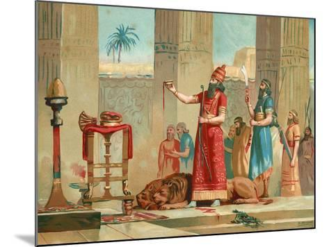 Ashurbanipal Offering Lions in Sacrifice-Dionisio Baixeras-Verdaguer-Mounted Giclee Print