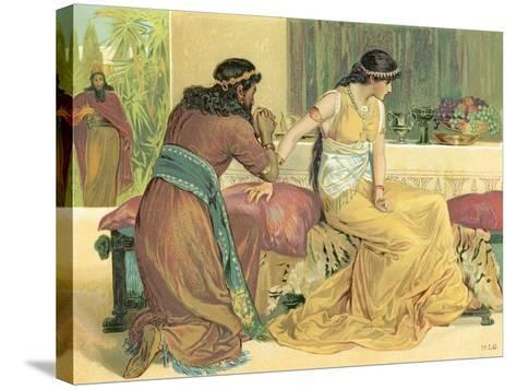 Queen Esther and Haman-English School-Stretched Canvas Print